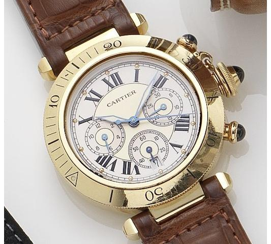 Cartier. An 18ct gold automatic calendar chronograph wristwatch Pasha, Ref:2111 1, Recent
