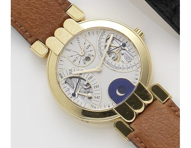 Harry Winston. An 18ct gold automatic calendar moonphase wristwatchNo.2352, Recent