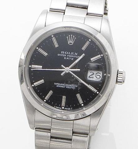 Rolex. A stainless steel calendar bracelet watch together with box and papersDate, Ref:15000, Serial No. R504701, Sold 1988