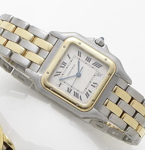 Cartier. A lady's stainless steel and gold calendar bracelet watchPanthere, Recent