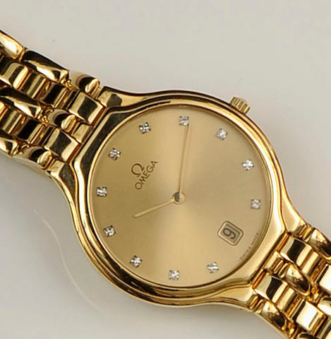 Omega: A gentleman's diamond set wristwatch