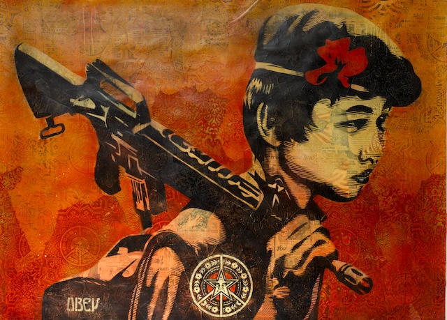 Shepard Fairey (American, born 1970) Duality of Humanity 2 mixed media on paper Image: 110 by 151 cm. 43 5/16 by 59 7/16 in. This work was executed in 2008  PROVENANCE Jonathan Levine Gallery, New York