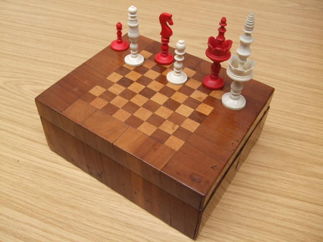 "A ""Selenus Pattern"" bone chess set"