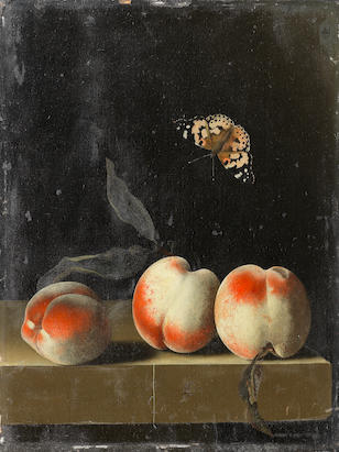 Adriaen Coorte (1683-1707) Three peaches on a table-top with a butterfly