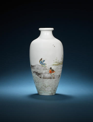 An enamelled baluster vase 20th century, painted by Wang Dafan (1888-1961)