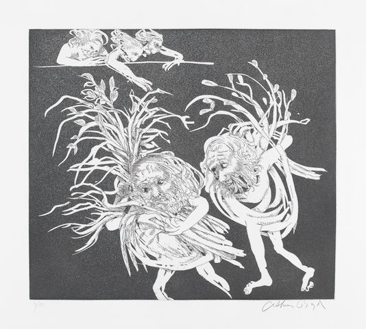 Arthur Boyd (Australian, 1920-1999) Old men enter carrying faggots to smoke out the women, from Lysistrata Etching with aquatint, 1970, on wove, signed and numbered 9/50 in pencil, with full margins, 350 x 400mm (13 3/4 x 15 3/4in)(PL)