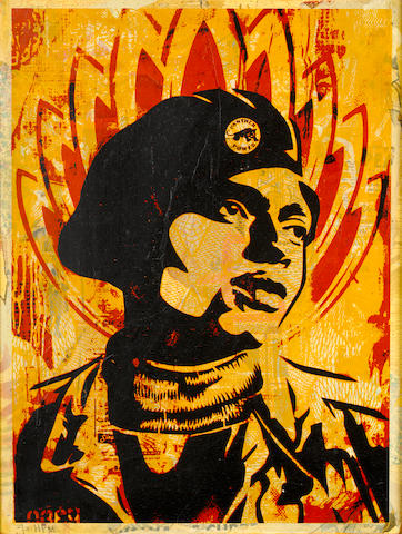 Shepard Fairey (b.1970) Black Panther signed, dated and inscribed 2/2 HPM in pencil; signed, dated and inscribed 2/2 HPM on the reverse  screenprint on board  60.5 by 45.5 cm. 23 13/16 by 15 15/16 in. This work was executed in 2005.