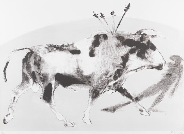 Dame Elisabeth Frink R.A. (British, 1930-1993) Corrida I(Wiseman 78) Lithograph printed in colours, 1973, on T.H. Saunders mould-made, signed and numbered 66/72 in pencil, printed at Curwen Studio, published by Leslie Waddington Prints Ltd., London, 560 x 765mm (22 x 30in)(SH)