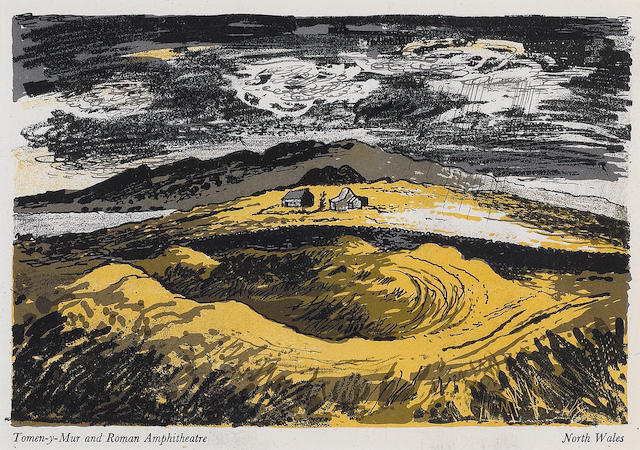 John Piper (British, 1903-1992) English, Scottish and Welsh Landscapes The book, 1944, comprising twelve auto-lithographs in colours, printed by the Curwen Press, on wove, bound as published in the original printed boards, with an extra suite of 12 auto-lithographs, loose, 215 x 145mm (8 1/2 x 5 3/4in)(24 unframed, vol)