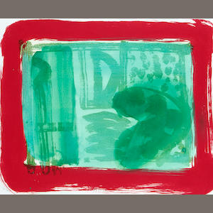 Sir Howard Hodgkin (British, born 1932) Green Room Liftground etching and aquatint printed in green and red, with hand colouring and egg tempera, 1986, on Rives, signed, dated and numbered 80/100, printed by Jack Shirreff, published by Bernard Jacobson Ltd., London, 510 x 610mm (20 1/8 x 24in)(SH)(unframed)