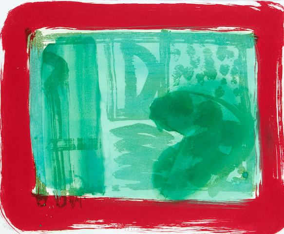 Sir Howard Hodgkin (British, born 1932) Green Room (Heenk 72) Lift-ground etching and aquatint printed in green and red, with hand colouring in veronese green and green egg tempera, 1986, on Rives, signed, dated and numbered 80/100, printed by Jack Shirreff, published by Bernard Jacobson Ltd., the full sheet printed to the edges, 510 x 610mm (20 1/8 x 24in)(SH)