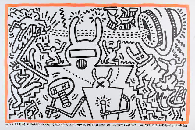 Keith Haring (American, 1958-1990) Robert Fraser Gallery Poster Offset lithograph printed in colours, 1973, on wove, published by the Robert Fraser gallery, London, with full margins, 671 x 1015mm (26 3/8 x 40in) (SH) (unframed)