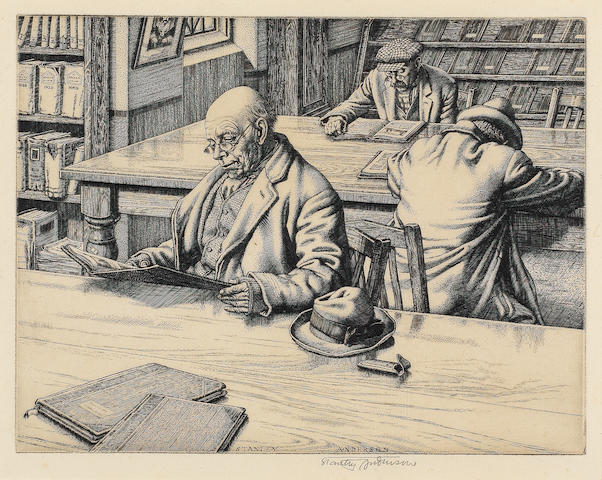 Stanley Anderson (British, 1884-1966) The Reading Room Engraving, on laid, signed in pencil, with wide margins, 168 x 220mm (6 5/8 x 8 5/8in)(PL)(unframed)