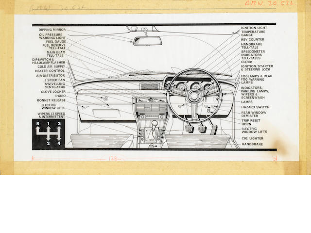 A BMW 3.0CSL dashboard interior original illustration for The Autocar, 1973,