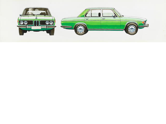 An original BMW 6-Series profile illustration, 1970s,