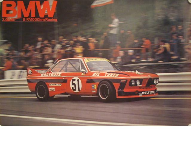 Four 1970s BMW CSL touring car gallery posters,