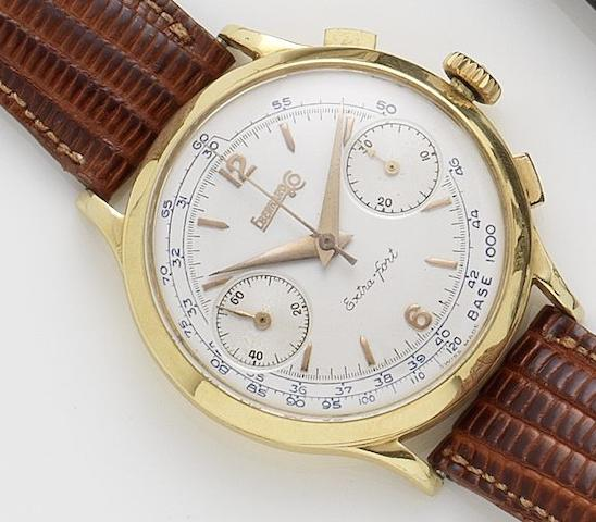 Eberhardt & Co. An 18ct gold manual wind chronograph wristwatch 1950's