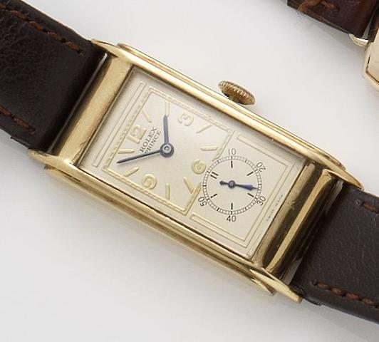 Rolex. A 9ct gold manual wind wristwatchPrince, Glasgow import mark for 1931