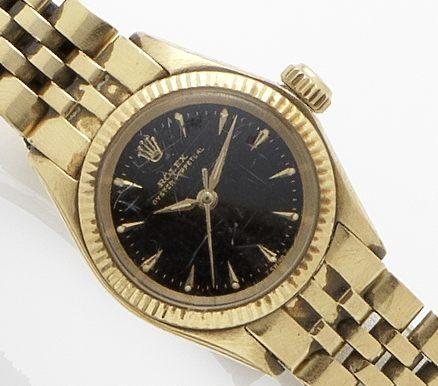Rolex. An 18ct gold lady's automatic bracelet watchOyster, Ref:6619, Case No.930611, Circa 1954