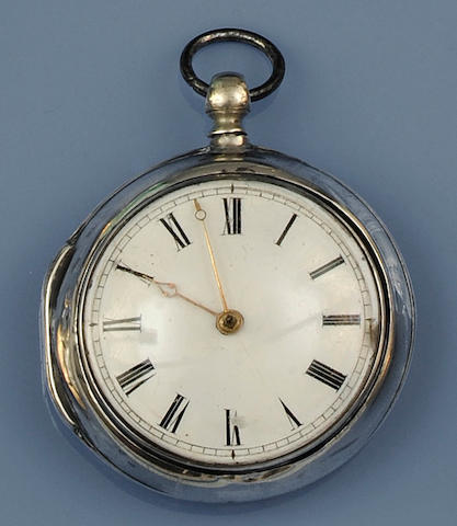 A George III silver pair cased verge pocket watchby James Martin