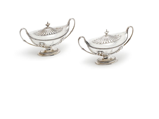 A pair of George III silver two-handled sauce tureens and covers, by Richard Carter, Daniel Smith & Robert Sharp, London 1782,  (2)
