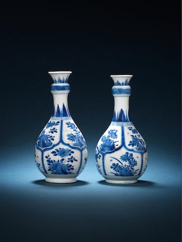 A pair of blue and white pear-shaped vases Kangxi