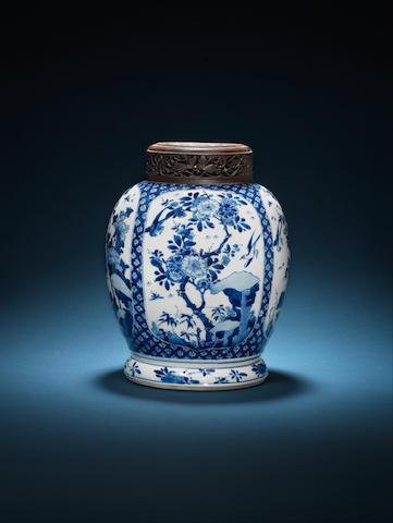 A blue and white globular jar Kangxi