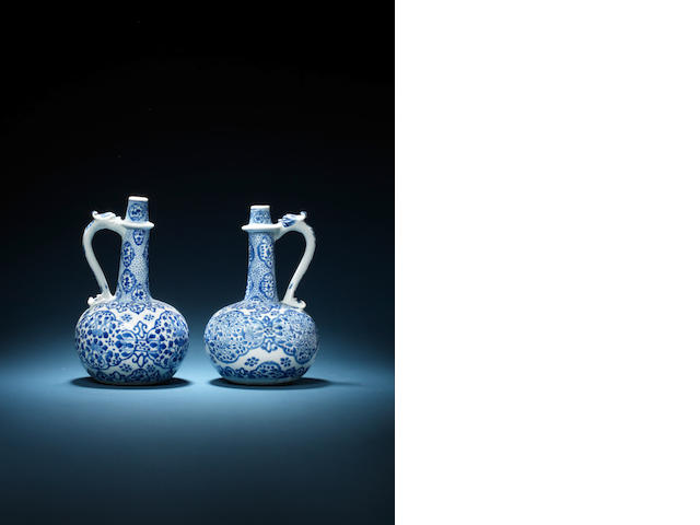 Two blue and white globular ewers Kangxi