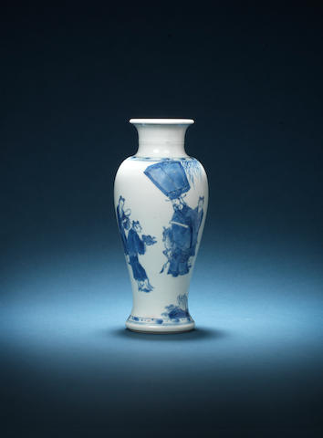 A blue and white baluster vase Xuande six-character mark, Kangxi