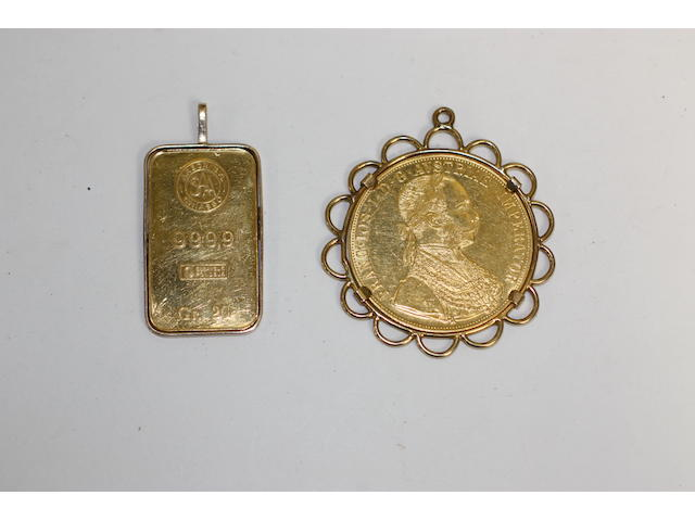 A Swiss 20 gram gold pendant ;together with an Austrian gold coin mounted in pendant