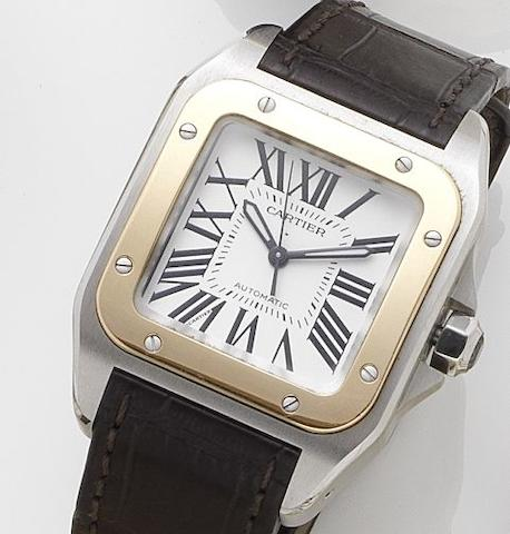 Cartier. A mid-sized stainless steel and gold automatic calendar wristwatch Santos 100, Sold 19th December 2007