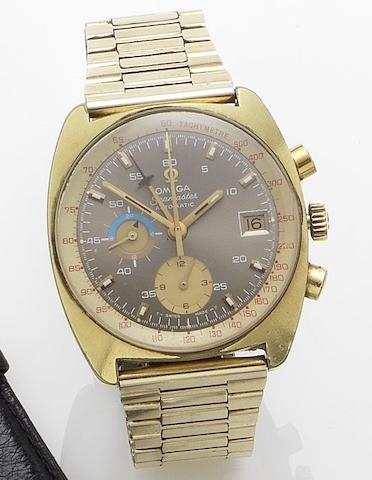 Omega. A gold plated automatic calendar chronograph bracelet watch Seamaster automatic, 1970's
