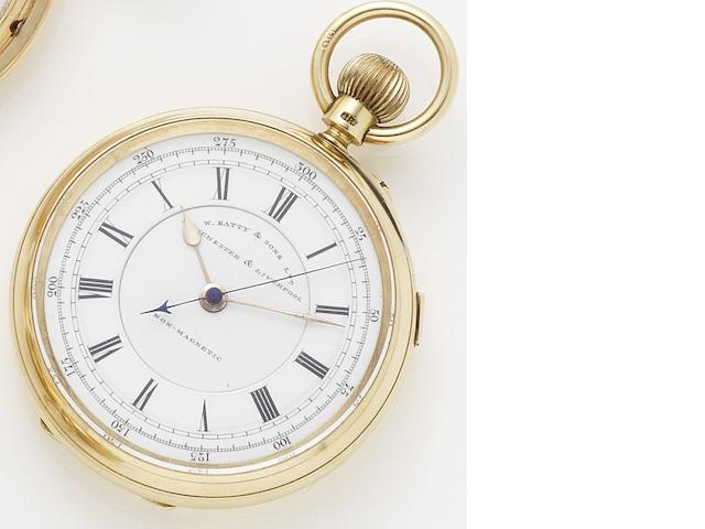 W.Batty & Sons. An 18ct gold manual wind open faced pocket watch Chester hallmark for 1903