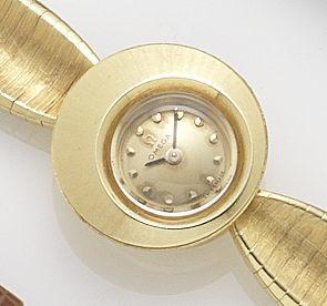 Omega. A lady's 18ct gold bracelet watch 1960's