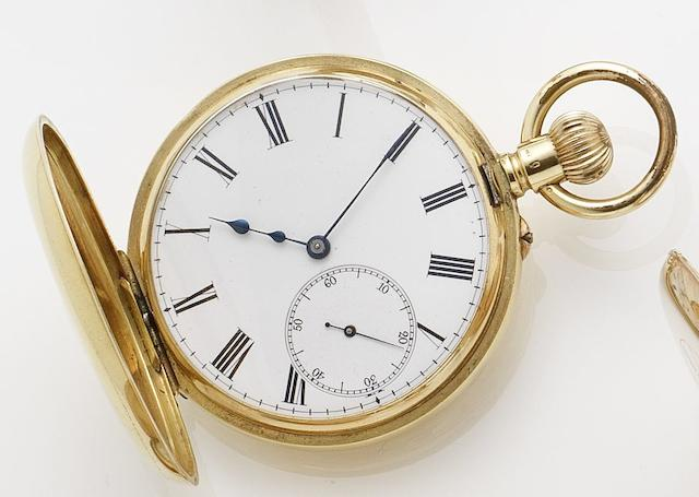 Swiss. An late 19th century 18ct gold half-hunter manual wind pocket watch