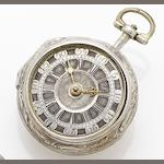 Gray. A mid-18th century silver repoussé open face pocket watch Circa 1750's