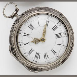 A. Becker. A mid 18th century silver repoussé pair case verge pocket watch Circa 1740s