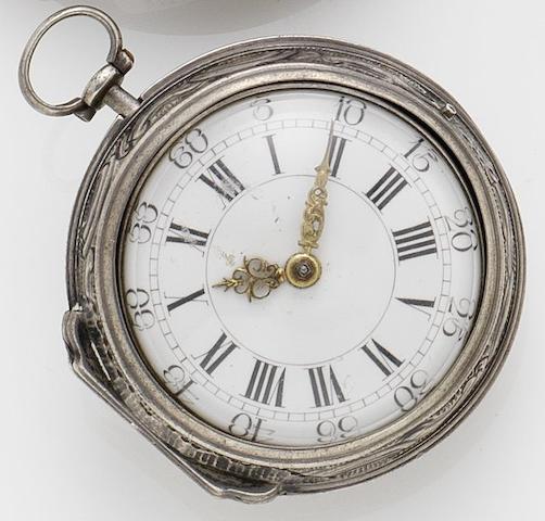 A. Becker. A mid 18th century silver repoussé pair case verge pocket watch Circa 1740s