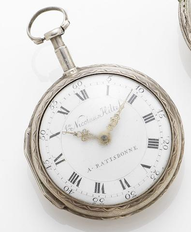 Johann Nicolause Hiltel. An early German 19th century silver open faced verge pocket watchRatisbonne(Regensburg), Germany, Circa 1810