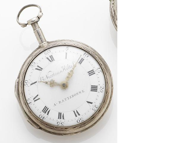 Johann Nicolause Hiltel. An early German 19th century silver open faced verge pocket watch Ratisbonne(Regensburg), Germany, Circa 1810