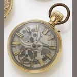 Swiss. A 19th century manual wind skeletonised pocket watch Numbered 7681, date??