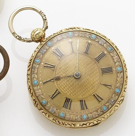 Willian Baker. An early 19th century 18ct gold torquoise set open face pocket watchLondon Hallmark for 1823