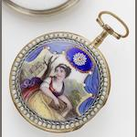 Bouvier. An early 19th century enamel Decorative open faced pocket watchCirca 1810