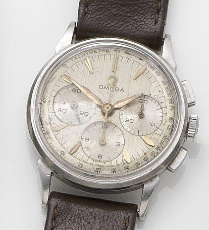 Omega. A stainless steel manual wind chronograph wristwatch 1960's