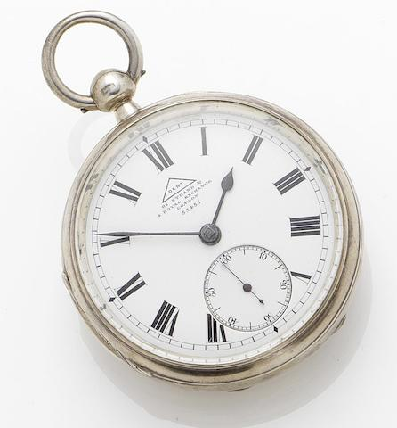 Dent. An early 20th century key wind silver free sprung open face pocket watch Numbered on the case and dial 55455, London hallmark for 1906 and stamped ATO