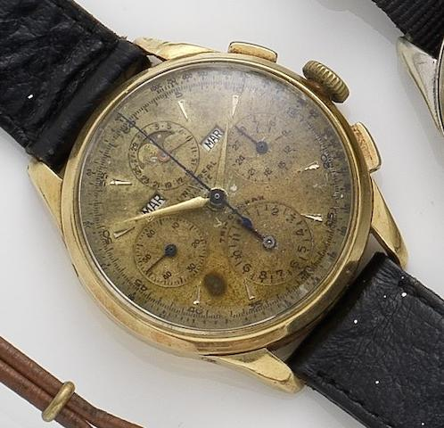 Universal. An 18ct gold manual wind chronograph triple calendar wristwatch 1940's