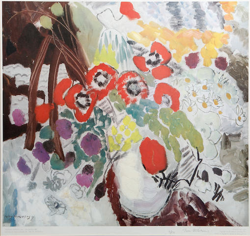 Ivon Hitchens (British, 1893-1979) Flower Painting 1931 Offset lithograph printed in colours, on wove, signed and numbered 6/50 in pencil, printed by Chorley & Pickersgill Ltd., published by Adam Collection Ltd., 490 x 595mm (19 1/4 x 23 3/8in)(I)