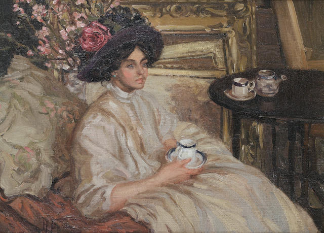 Hilda Fearon (British, 1878-1917) Afternoon tea 43 x 59cm (17 x 23 1/4in)