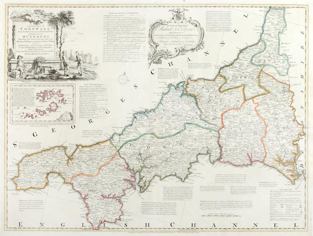 KITCHIN (THOMAS) A New Improved Map of Cornwall, large double-page engraved map, [1755]