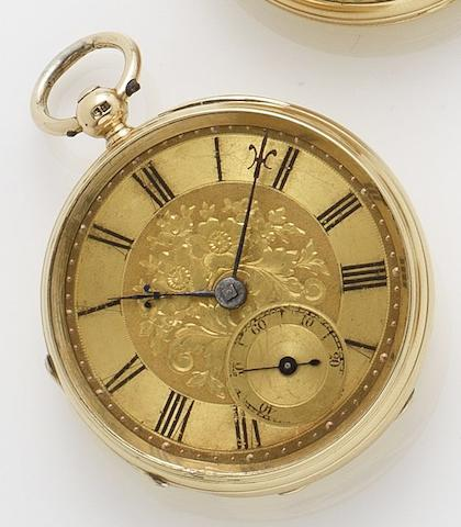 R. Scanlan. An early 19th century 18ct gold open faced pocket watch London hallmark for 1803